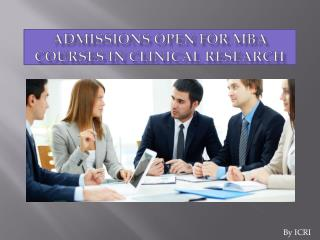 MBA Courses in Clinical Research, MBA in Pharma Marketing