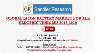 2019 Global Li ion Battery Market for All Electric Vehicles