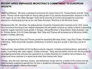 RECENT HIRES EMPHASIZE MICROTRAC'S COMMITMENT TO EUROPEAN