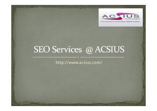 SEO Services  @ ACSIUS