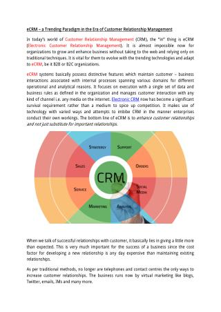 eCRM a Trending Paradigm in the Era of Customer Relationship