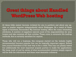 Great things about Handled WordPress Web hosting