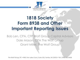 1818 Society Form 8938 and Other Important Reporting Issues