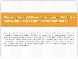 Choosing the Right Game Development Studio for Your Game Dev