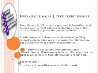 Free credit score | Www.freecreditscorereportonline.co.uk