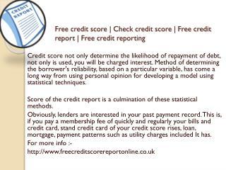 Free credit report | Www.freecreditscorereportonline.co.uk