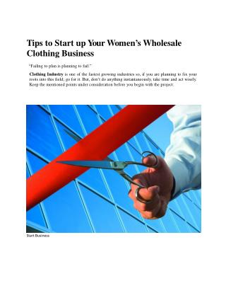 Tips to Start up Your Women's Wholesale Clothing Business