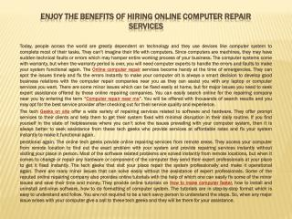 Enjoy the Benefits of Hiring Online Computer Repair Services