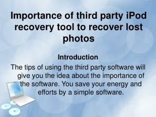 How to Recover iPod Data Files from iPod Data
