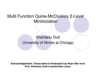 Multi Function Quine-McCluskey 2-Level Minimization