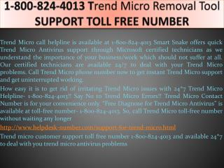 1-800-824-4013 Trend Micro Removal Tool SUPPORT TOLL FREE NU