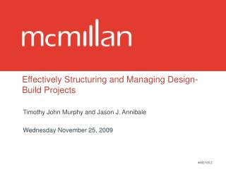 Effectively Structuring and Managing Design-Build Projects