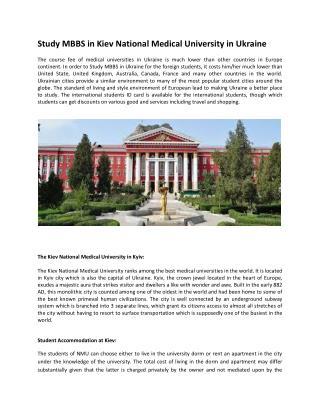 Medical Universities in Ukraine| Kyiv Medical University| Me