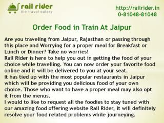 Rail Rider has a Special Food Service for Jain Travelers in