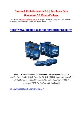 Facebook Cash Generator 2.0 Bonus & Review