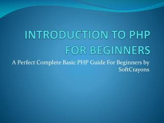 Introduction To PHP For Beginners