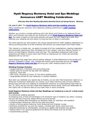 Hyatt Regency Monterey Hotel and Spa Weddings Announces LGBT