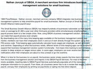 Nathan Jurczyk of SBGA, A merchant services firm introduces