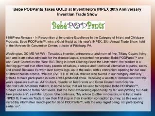 Bebe PODPants Takes GOLD at InventHelp's INPEX
