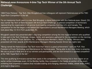 NationaLease Announces 4-time Top Tech Winner
