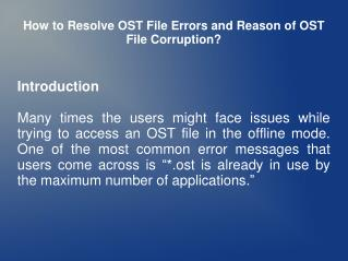 How to Repair OST File Errors and Save in PST