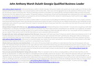 John Anthony Marsh Duluth Georgia Qualified Business Leader