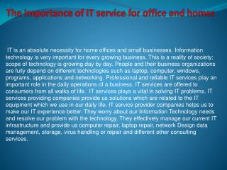 The importance of IT service for office and homes