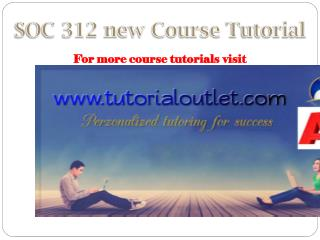SOC 312 new Course Tutorial / tutorialoutlet