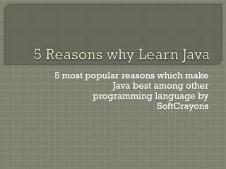 5 reasons Why learn java