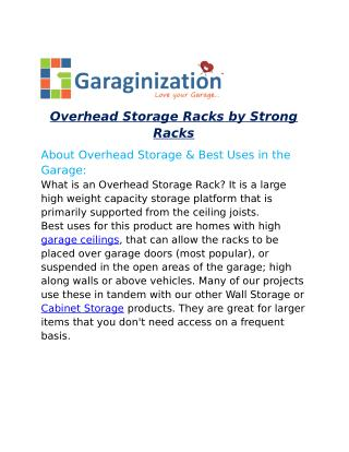 Overhead Storage Racks by Strong Racks