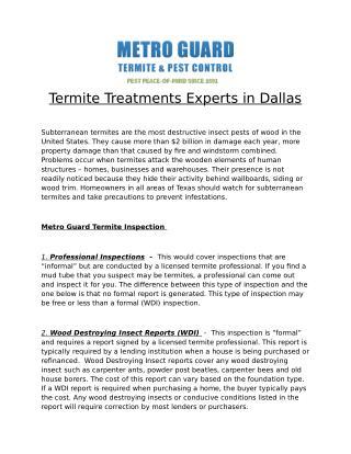 Termite Treatments Experts in Dallas