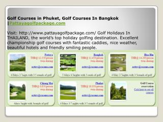 Golf Courses in Phuket, Golf Courses In Bangkok |Pattayagolf