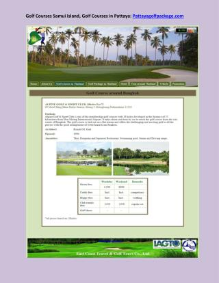 Golf Courses Samui Island, Golf Courses in Pattaya: Pattayag