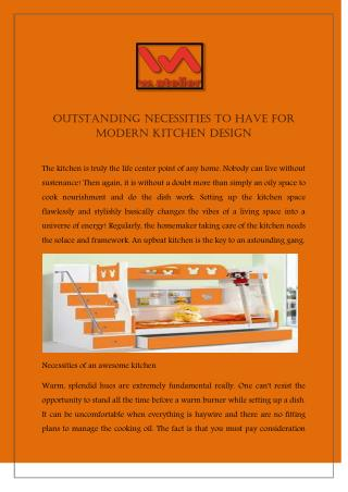 Outstanding Necessities To Have For Modern Kitchen Design