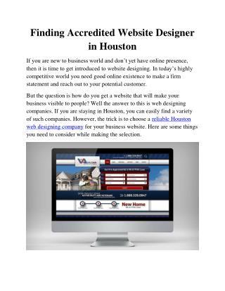 Finding Accredited Website Designer in Houston