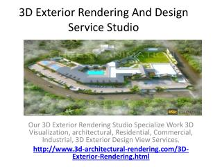 3D Exterior Rendering And Design Service Studio
