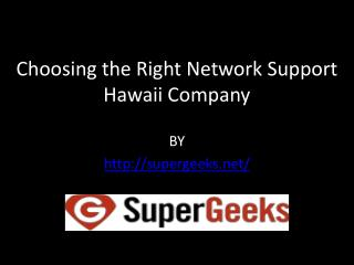 Choosing the Right Network Support Hawaii Company