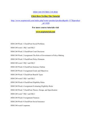 HSM 240 UOP Tutorial/ Uoptutorial