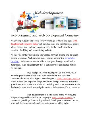 web designing and Web development Company