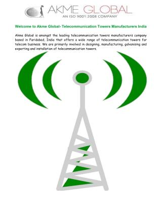 Telecommunication Towers Manufacturers India