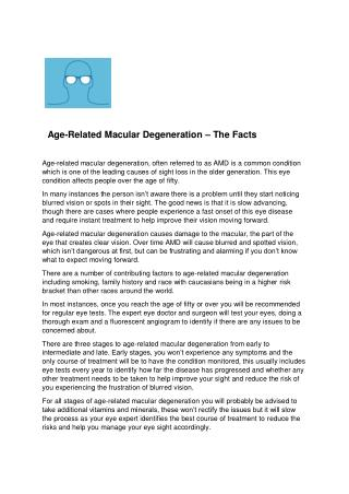 Age-Related Macular Degeneration – The Facts