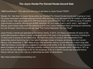 The Joyce Honda Pre Owned Honda Accord Sale