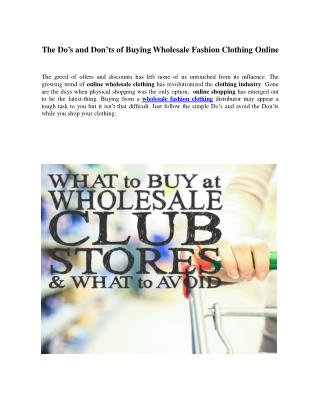 The Do's and Don'ts of Buying Wholesale Clothing Online