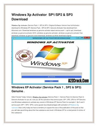 Windows Xp Activator