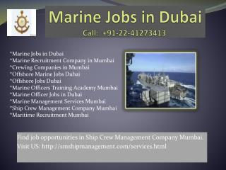 Marine Jobs in Dubai, Offshore Jobs Dubai, Ship Crew Management Company Mumbai