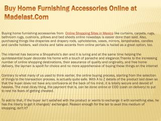 Buy Home Furnishing Accessories Online at Madelast.Com