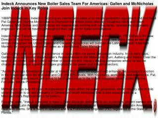 Indeck Announces New Boiler Sales Team For Americas