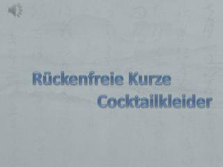 Sexy R�ckenfreie Kurze Cocktailkleider Online G�nstig Kaufen