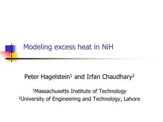 Modeling excess heat in NiH