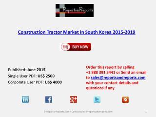Construction Tractor Market in South Korea 2019 – Key Vendor